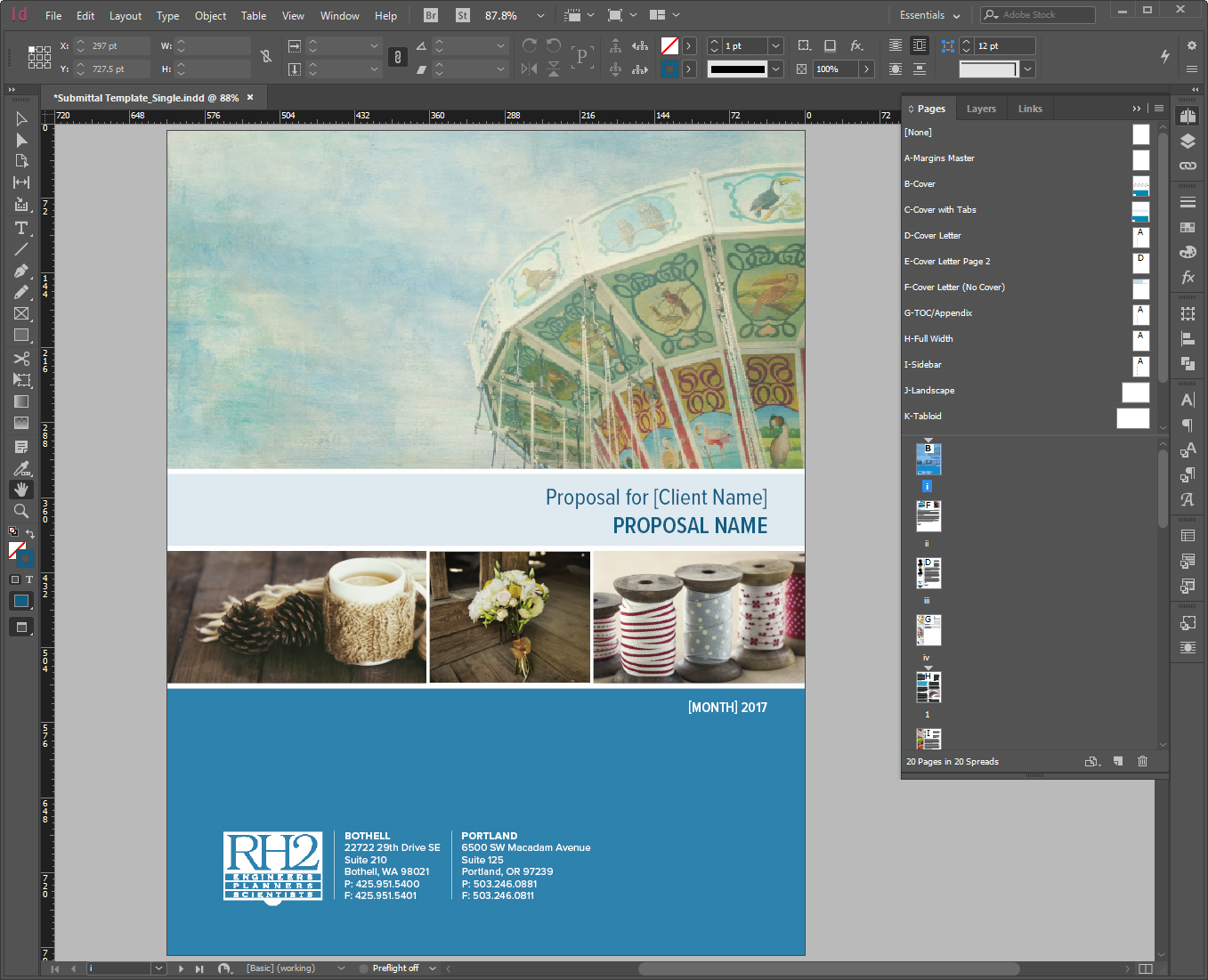 Multiple cover master pages allowed the user to change the cover dimensions for full bleed printed, full bleed with tabs, and electronic delivery.
